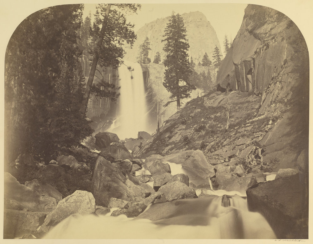 Carleton Watkins (American, 1829 - 1916)  [Piwayac - Vernal Fall - 300 ft. Yo Semite] , 1861, Albumen silver print 40.2 × 52.1 cm (15 13/16 × 20 1/2 in.) The J. Paul Getty Museum, Los Angeles