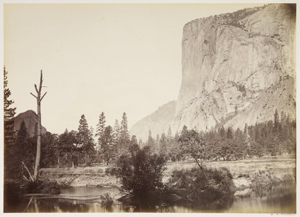 Carleton Watkins (American, 1829 - 1916)  El Capitan, 3600 ft., Yo Semite , negative 1861; print about 1866, Albumen silver print 39.1 × 51.3 cm (15 3/8 × 20 3/16 in.) The J. Paul Getty Museum, Los Angeles
