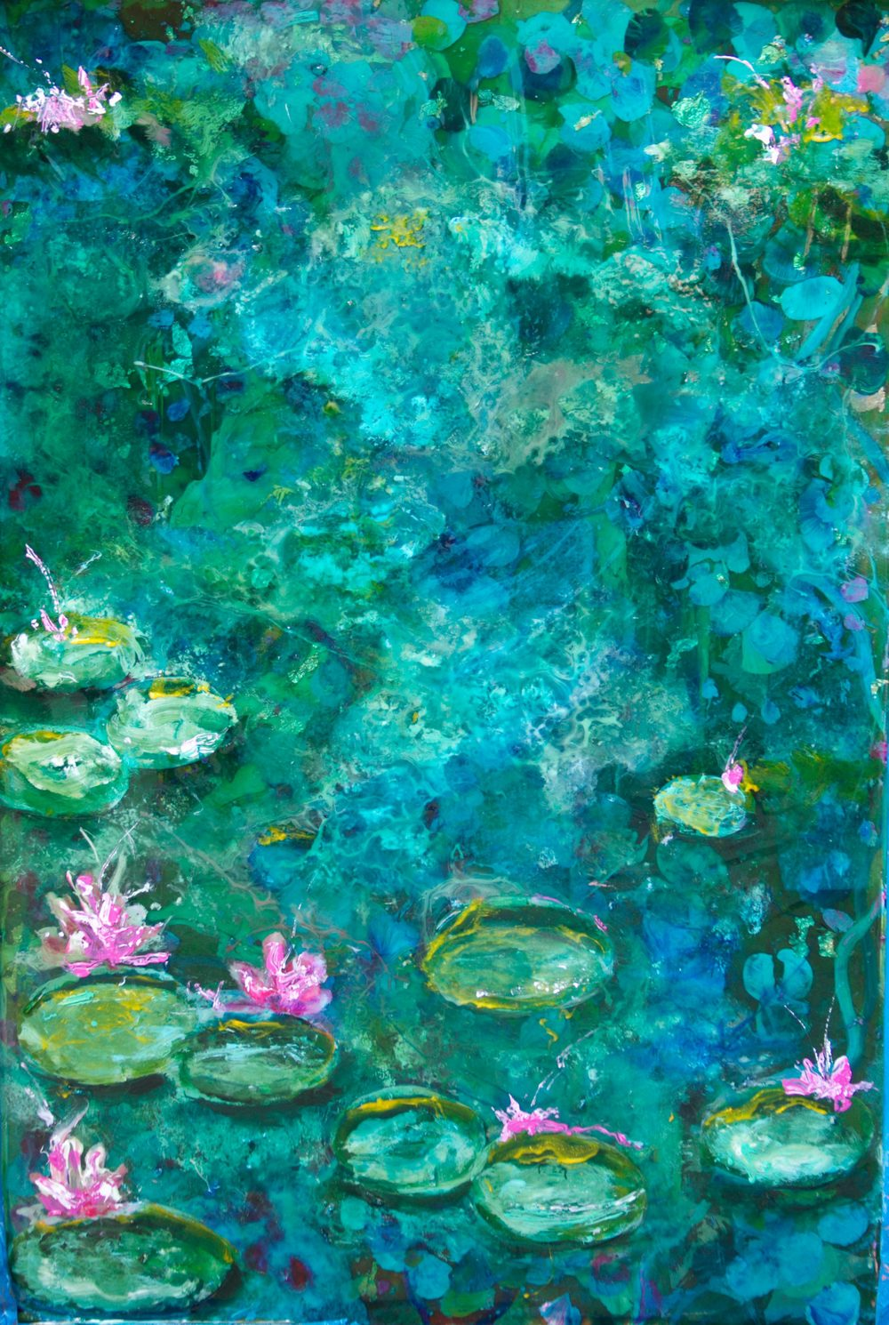 """Lotus Pond""                                                                                              30 x 40"" acrylic & resin on canvas- SOLD"