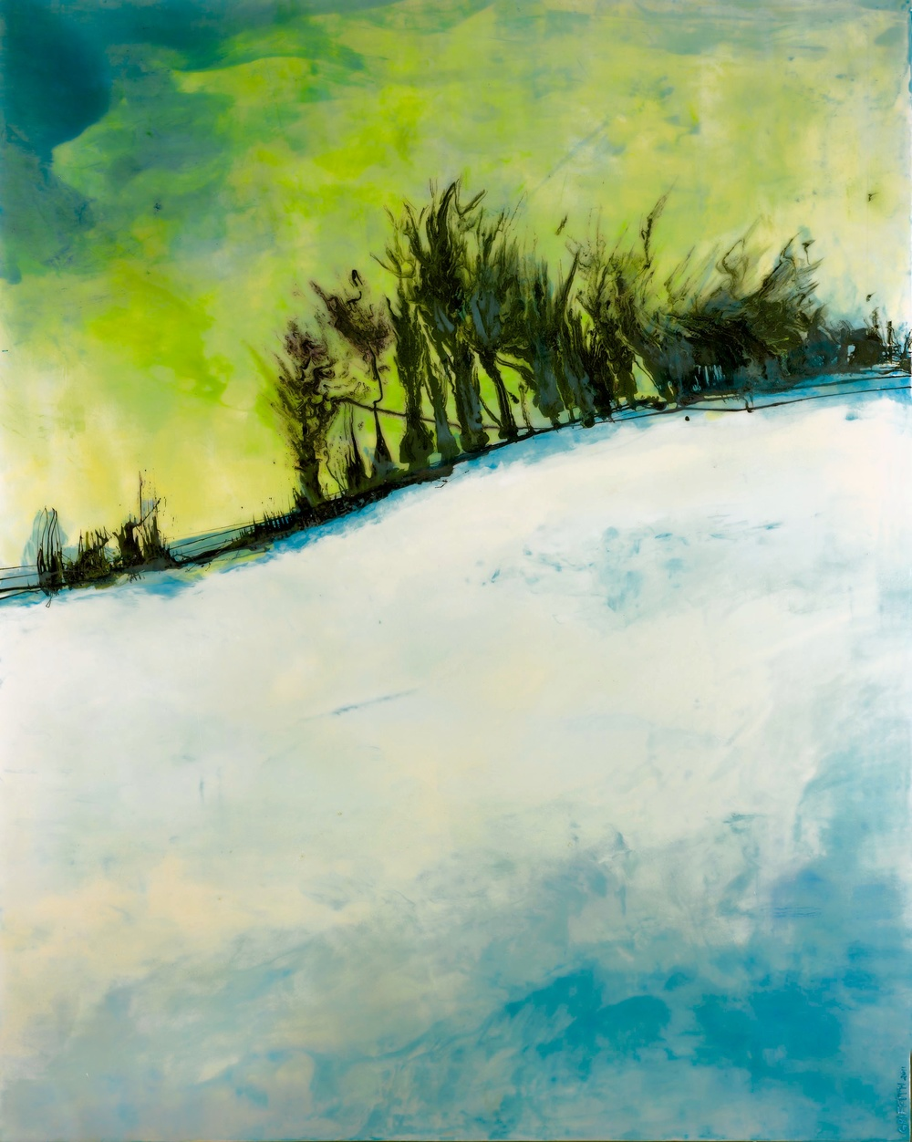"""Winter Ridge""                                                                                    48"" x 60"" acrylic & resin on canvas   - SOLD"