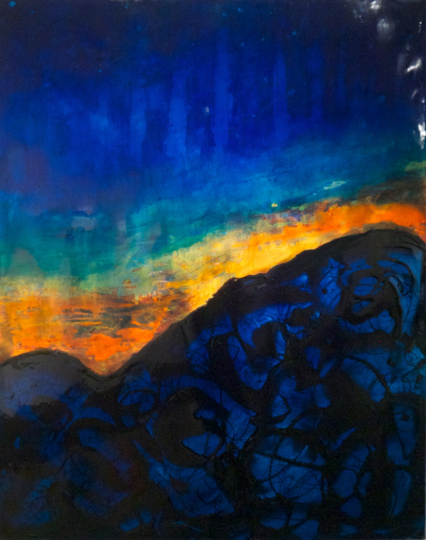 """Volcano Twilight""                                                                                                           48"" x 60"" acrylic & resin on canvas"