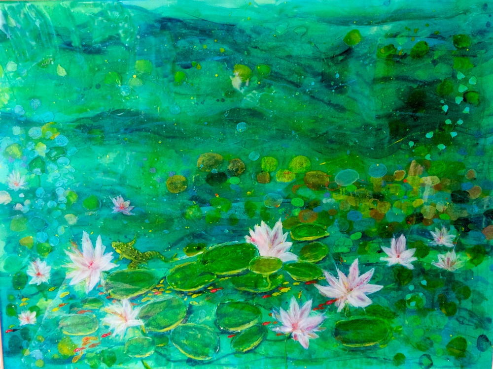 """Frog Pond 2""                  36"" x 40""  acrylic & resin on canvas   -  SOLD"