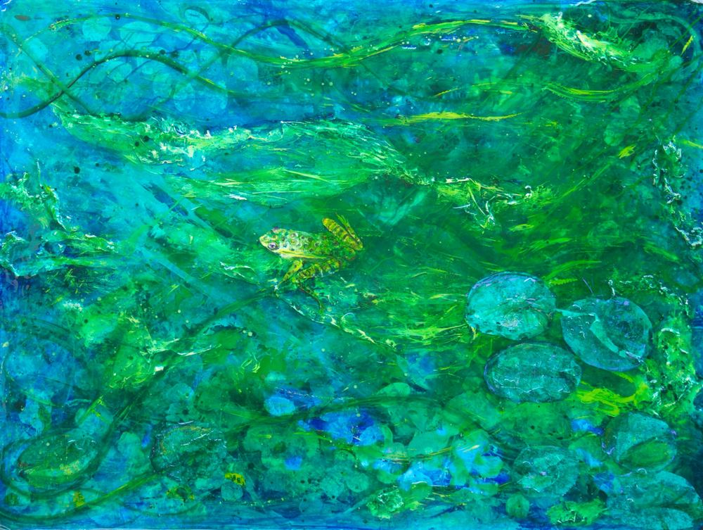 """Frog Pond""      24"" x 36"" acrylic & resin on canvas--  - SOLD"