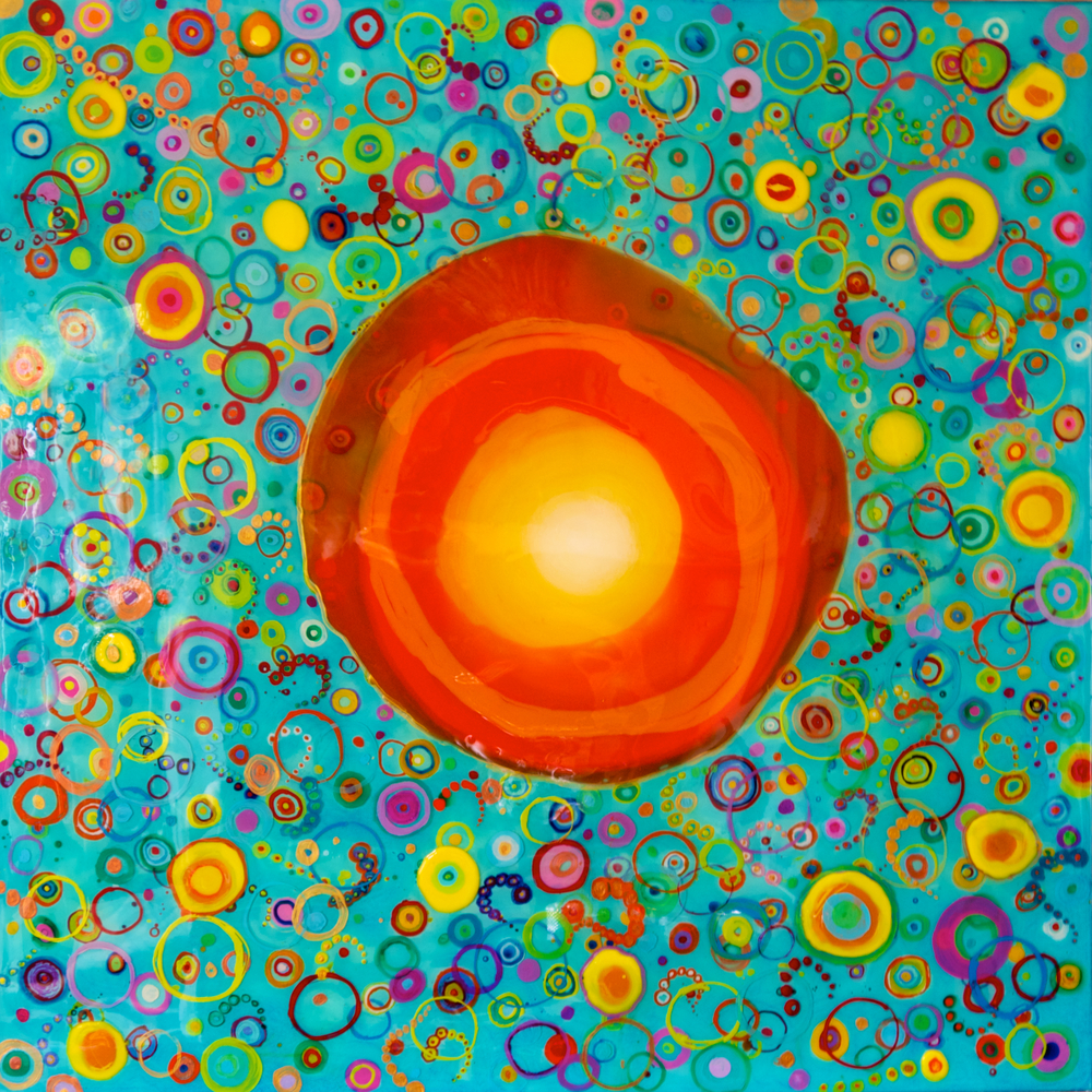 """Orange Krush""   48"" x 48""  acrylic and resin  -SOLD"