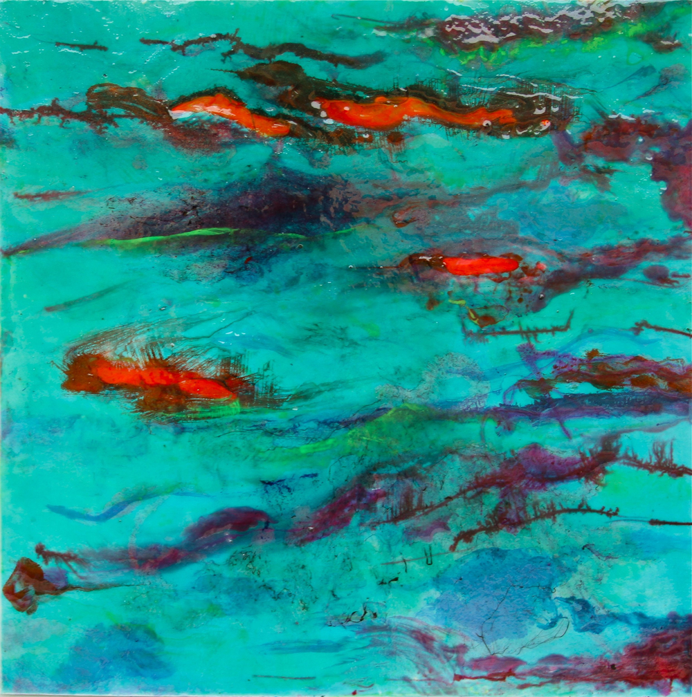 """coi pond"" 24"" x 24"" acrylic and resin- sold"