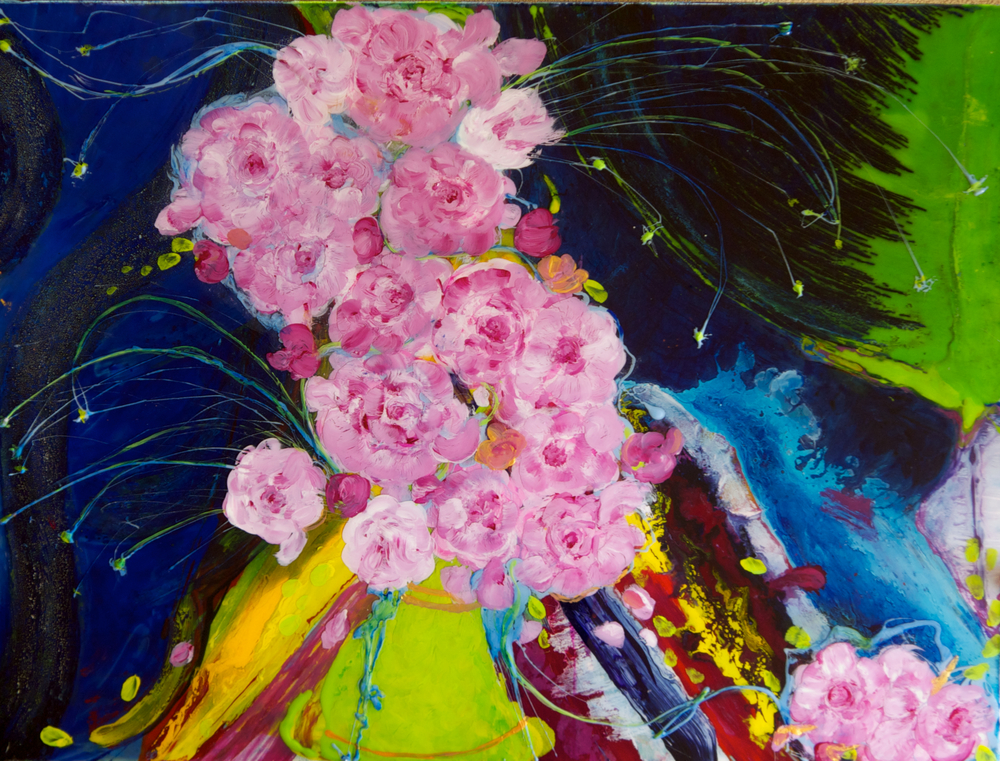 """Peonies""                      30"" x 40""    acrylic & resin on canvas, framed"