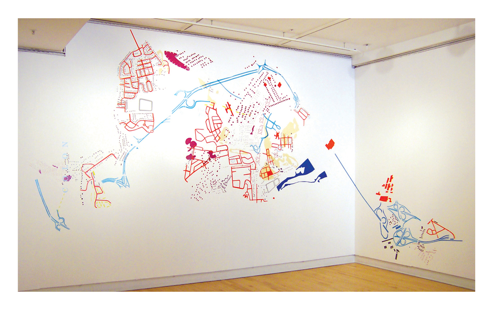 Information Retrieval 104, (Troy, in a day) 2004. Wall mural on adjacent walls. Dimensions variable. Each wall 11 x 8 ft.