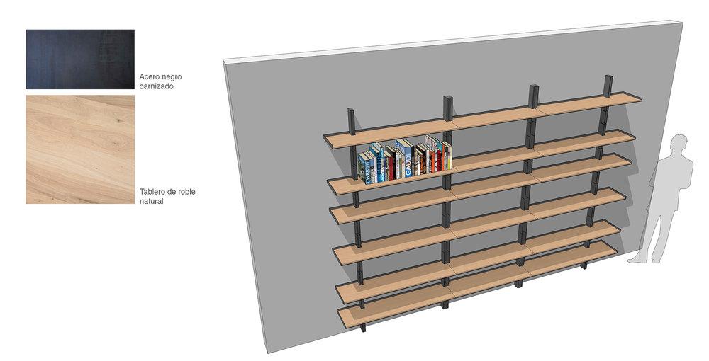 Diseño de mobiliario. Estantería de madera.