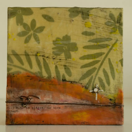 """Drill"" encaustic, mixed media on wood panel. 6x6"" SOLD"