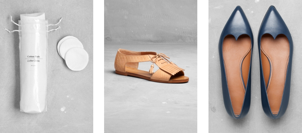 10.  Cotton Disks  / 11.  Open-toe Sandals  / 12. Dainty Flats