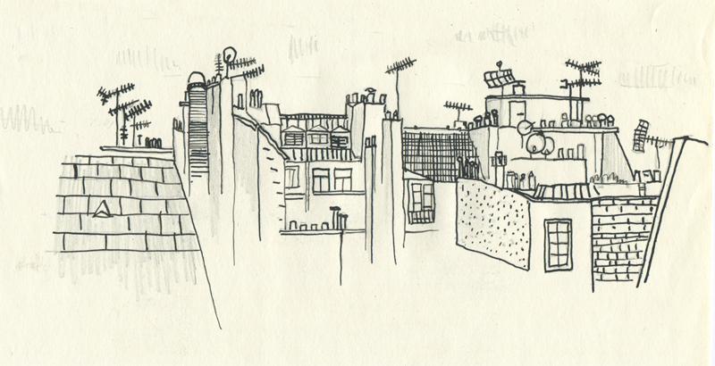 Paris rooftop, Ink on Paper, 2012//Les Toits de Paris, Encre sur papier, 2012