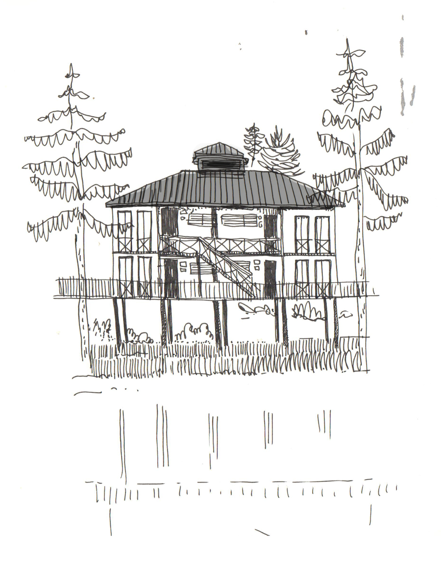 Dreamy cabin above a lake in Brittany, Nov. 2013. Rotring on Paper