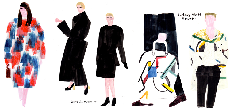 Charlotte Trounce  gives Fashion Illustration a try. And her brush strokes are just lovely, aren't they ?