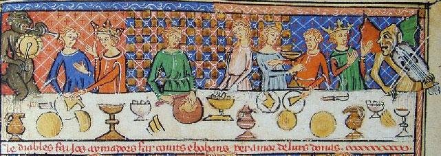 [[  The pattern above is inspired by this painting showing a banquet around the end of the 13th century.///Le motif #04 est inspiré de cette peinture de la fin du 13ème siècle représentant une scène de banquet.]]