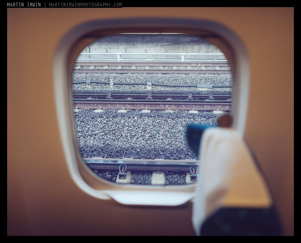 Out of the window of the Hikari bullet train