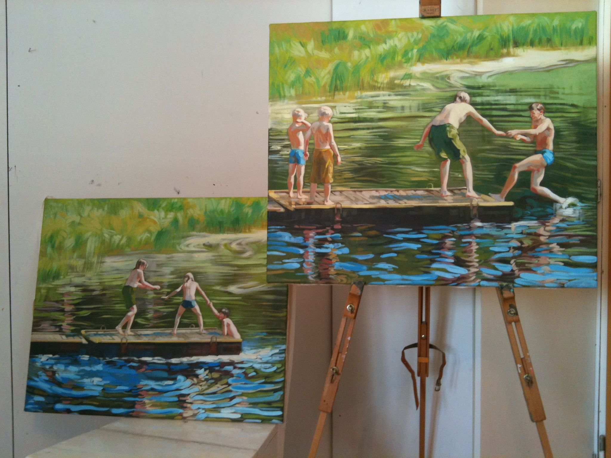 boys in the river - paintings