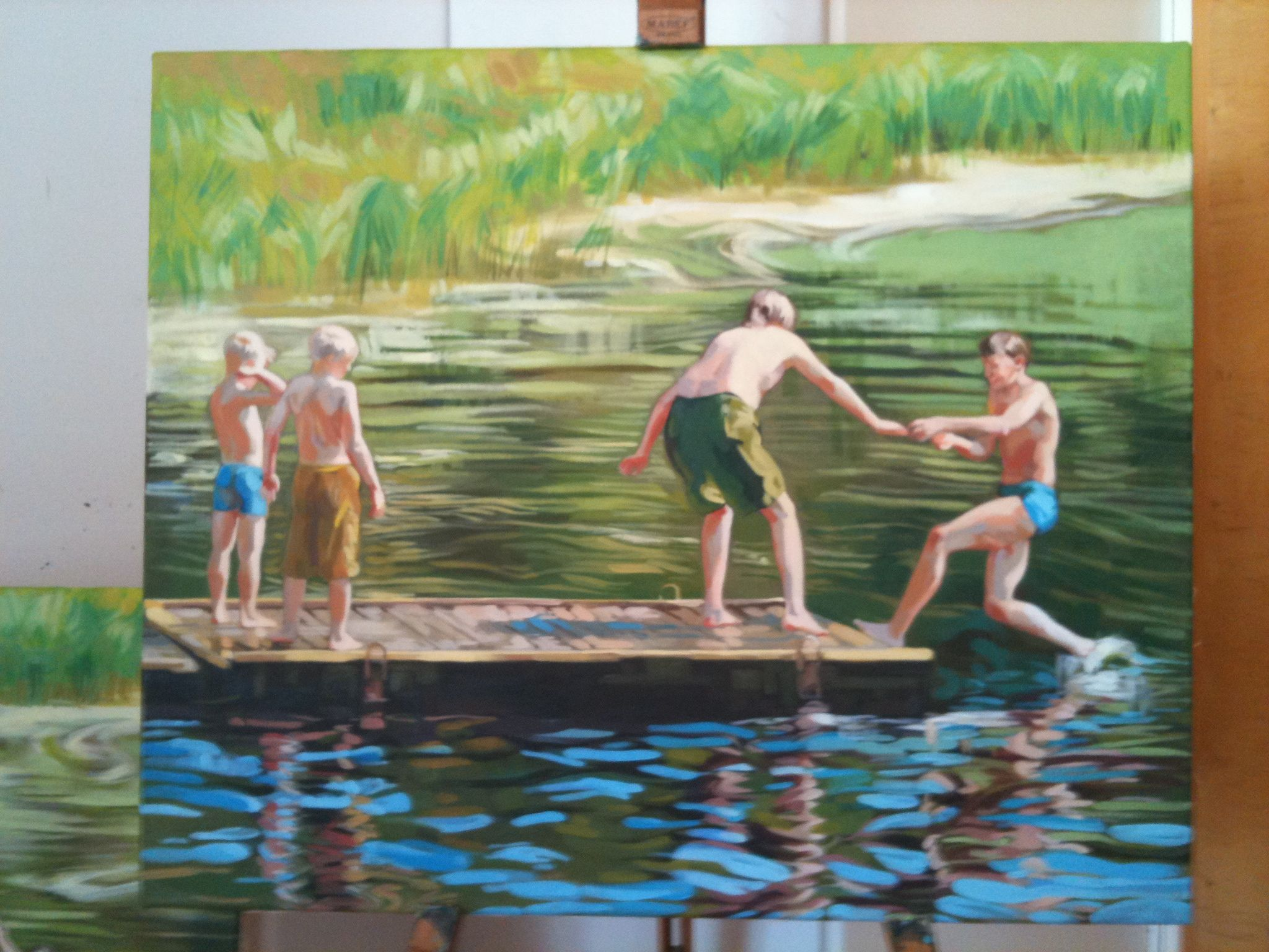 boys in river- painting