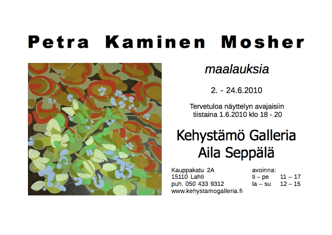 Invitation to Kehystämö Galleria Show