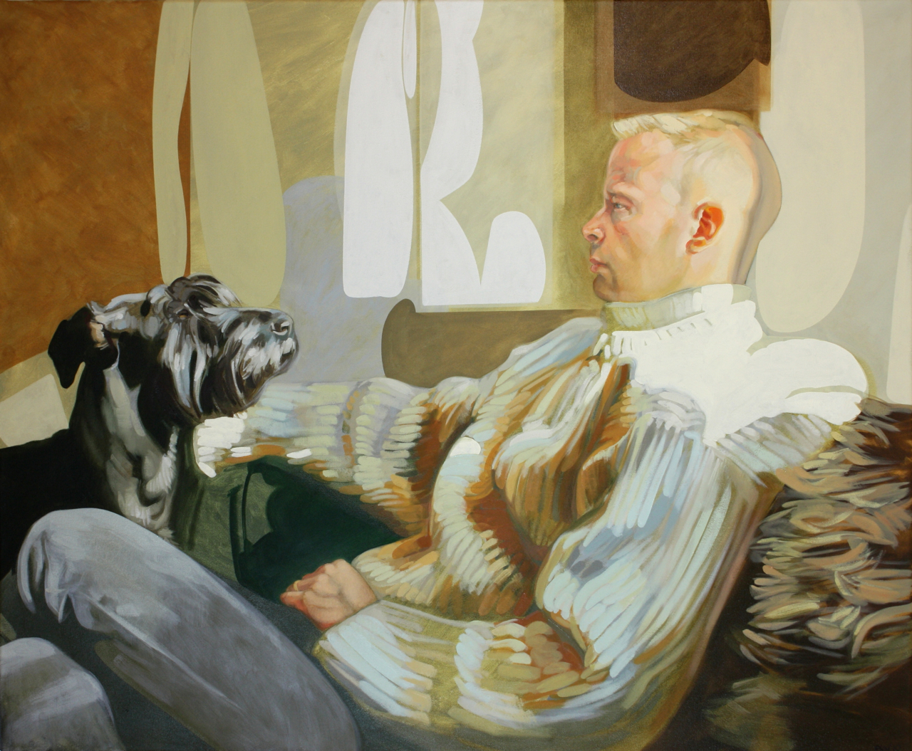 portrait of husband and dog