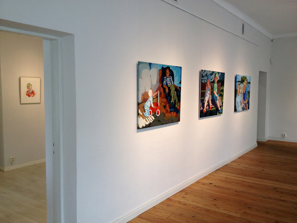 "From left:  ""Vaarin poika"", ""Summer Bench"" and ""Family Study in Blue""  (Through doorway ""Eelis"")"