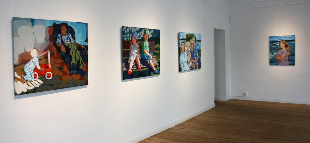 "From left:  ""Vaarin poika"", ""Summer Bench"", ""Family Study in Blue"" and ""Rafaela rannalla"""