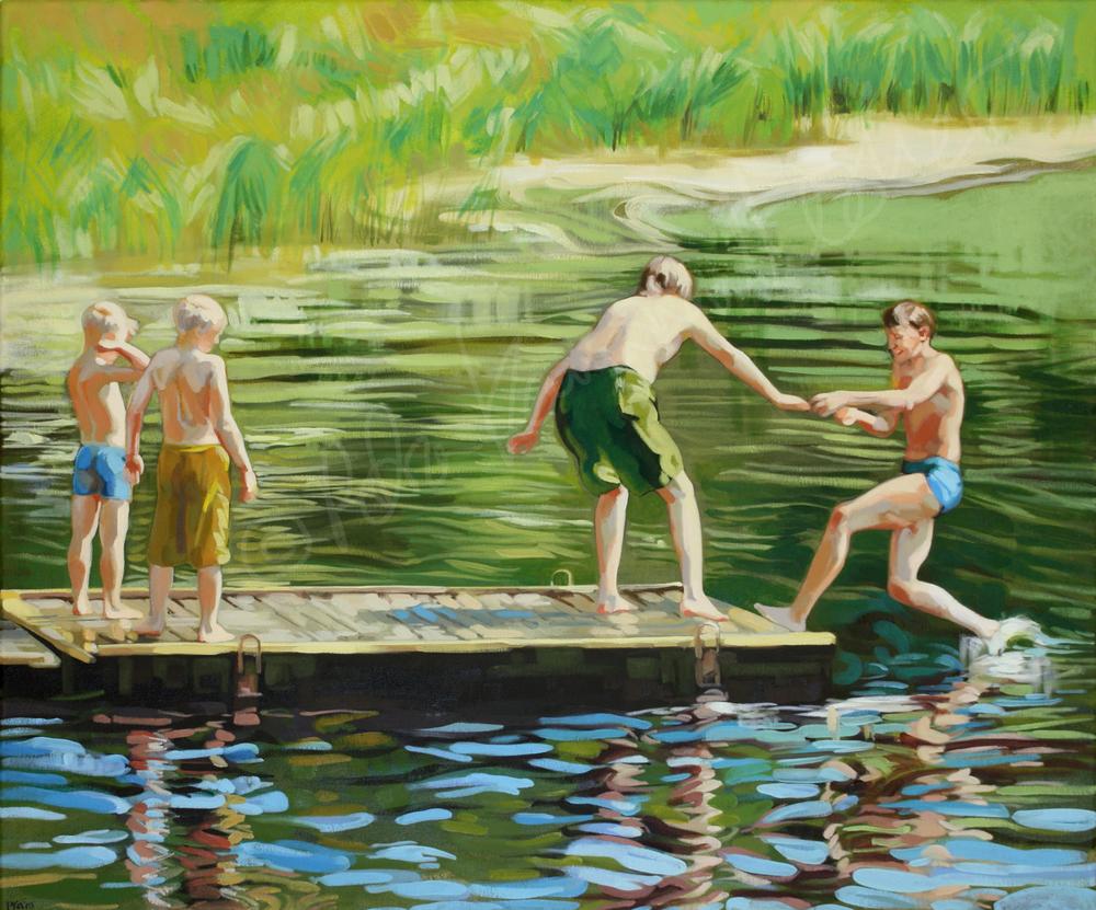 Neljä poikaa joen rannalla