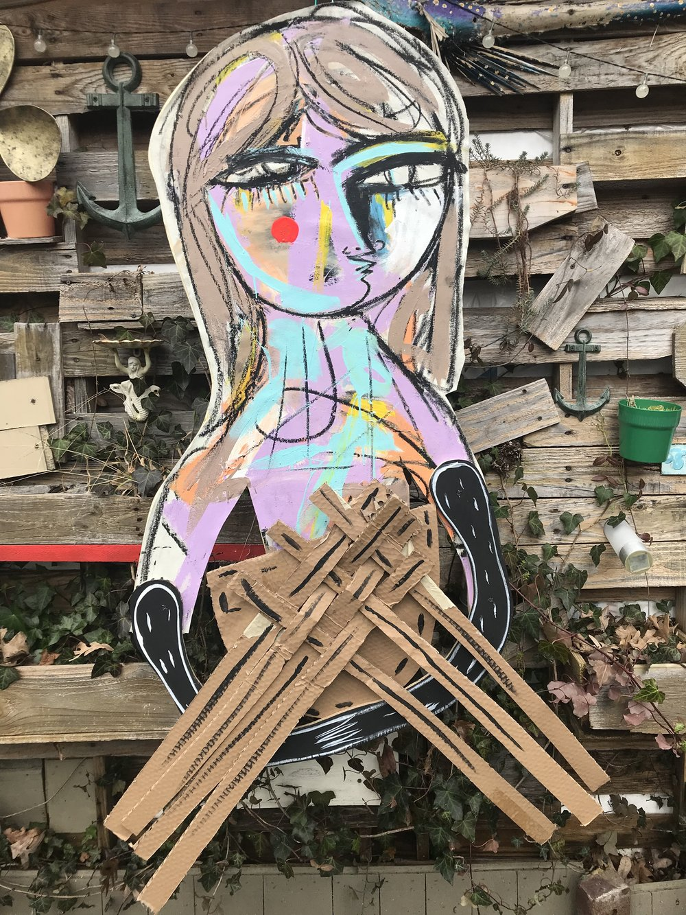 STREET ARTIST 3, CANVAS OVER WOOD CUTOUT WITH CARDBOARD