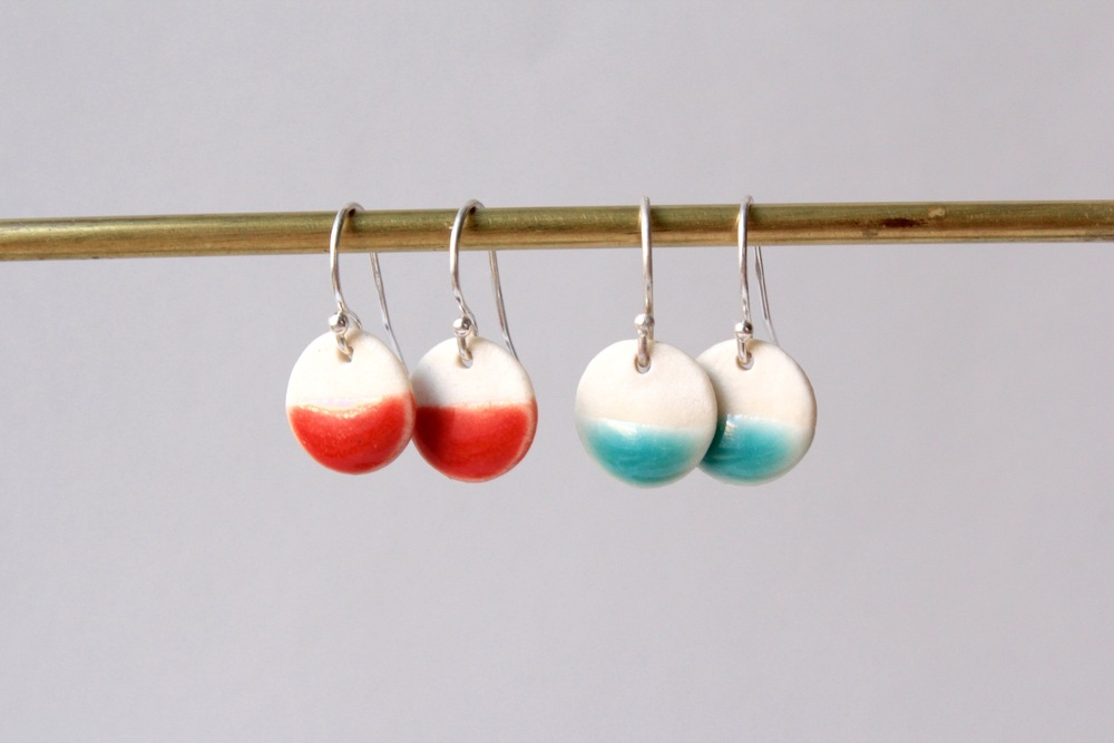 Dipped Circle Earrings (Blue/Red)