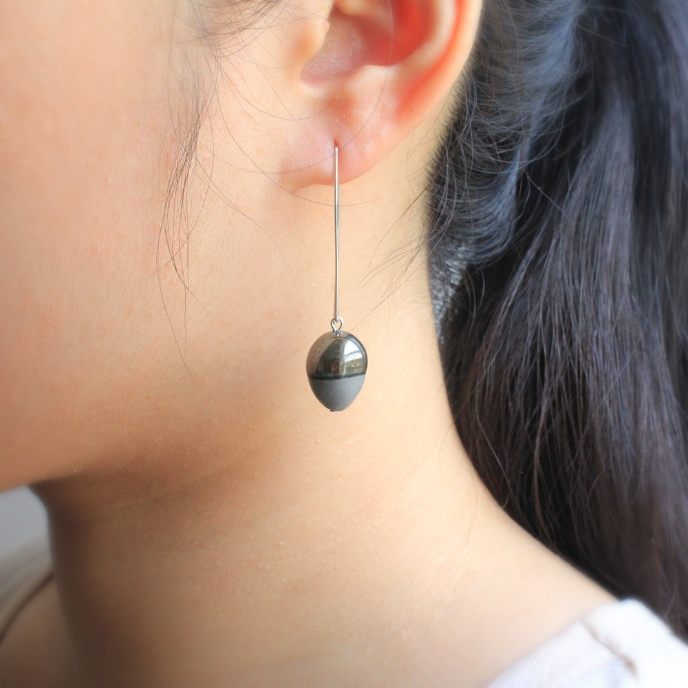 Acorn Earrings in Grey