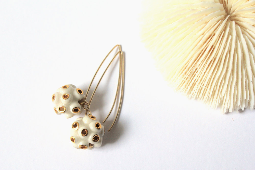 Coral White Earrings
