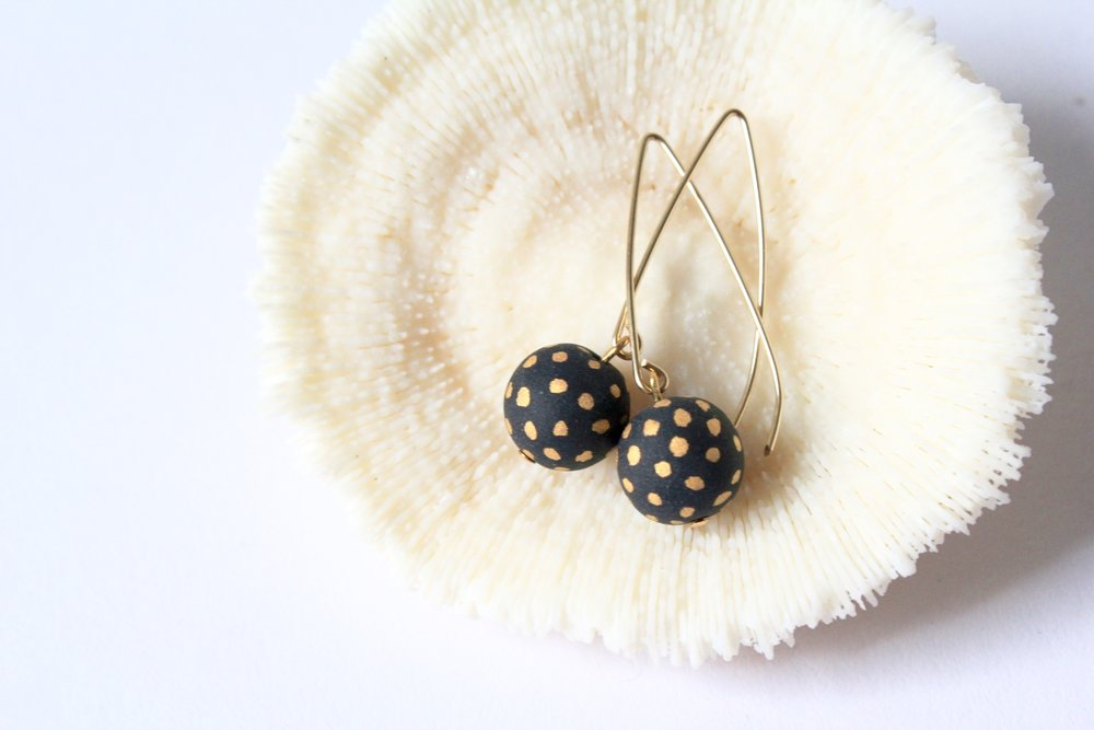 Ladybug Black Matte Earrings