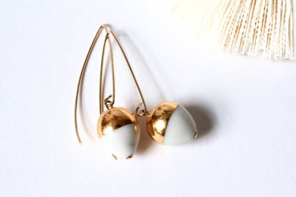 Gold Dipped Acorn White Earrings