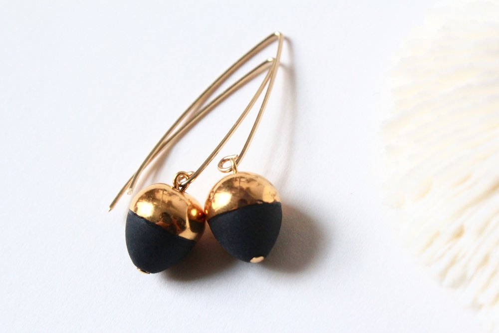 Gold Dipped Acorn Black Earrings