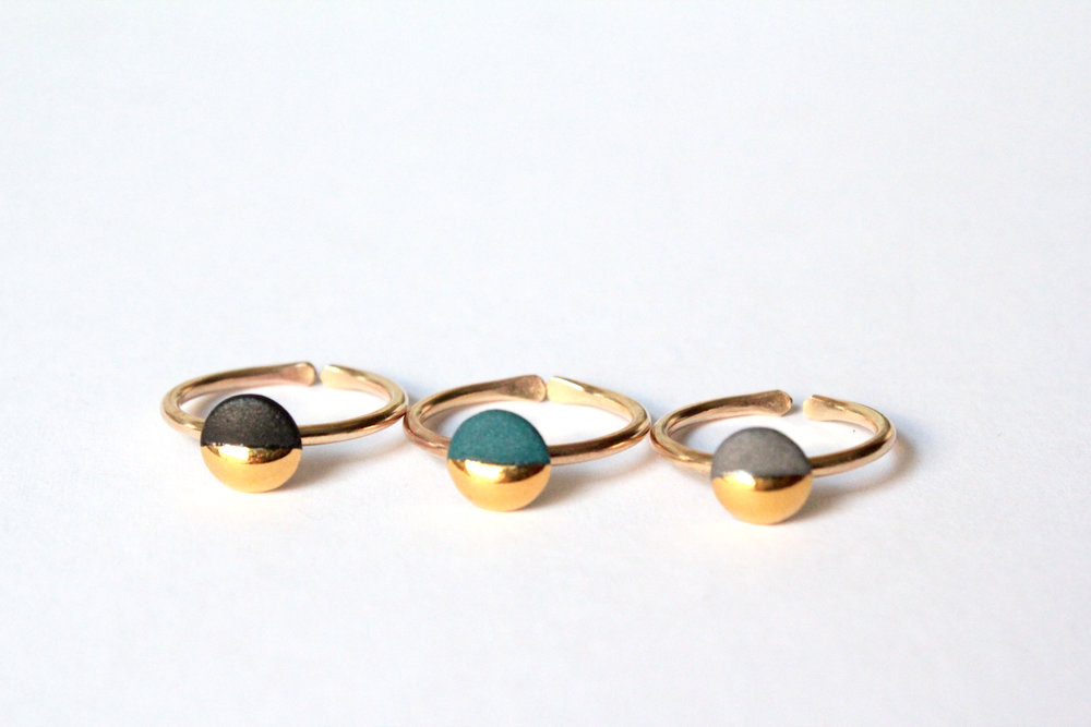 Gold Dipped Flat Circle Rings