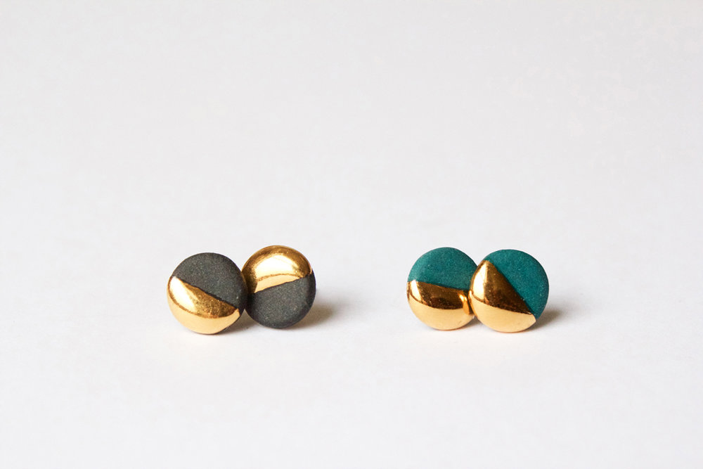 Gold Dipped Flat Circle Studs