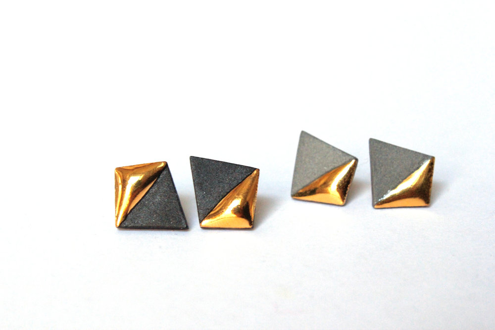 Gold Dipped Geometric Studs