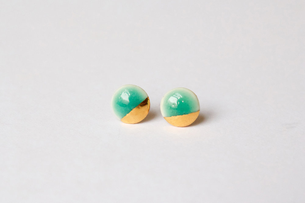 Gold Dipped Flat Circle Turquoise Studs