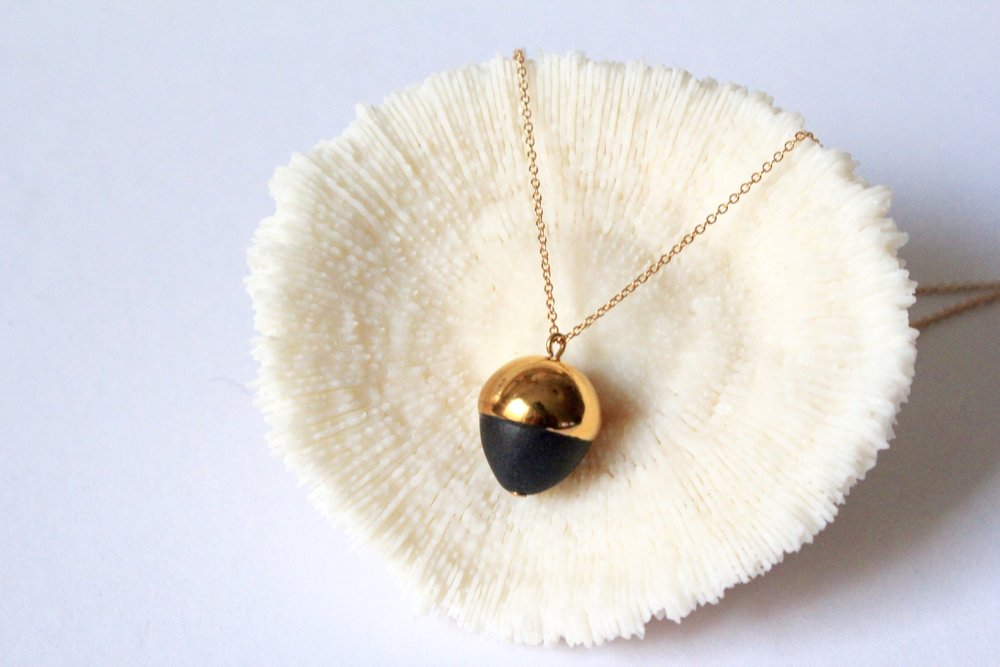 Gold Dipped Acorn Black Necklace