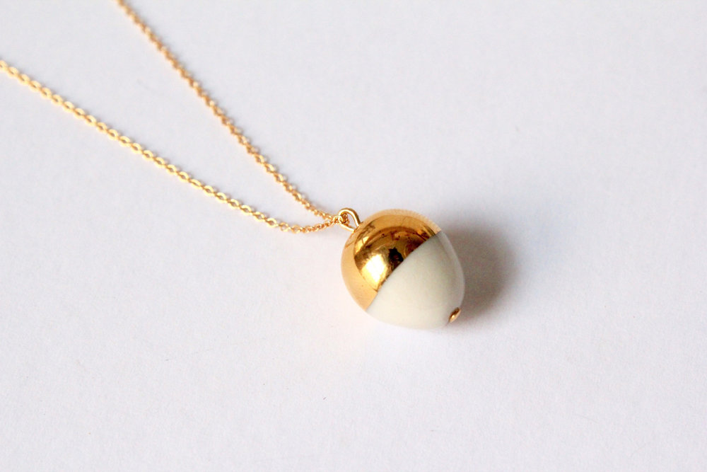 Gold Dipped Acorn White Necklace