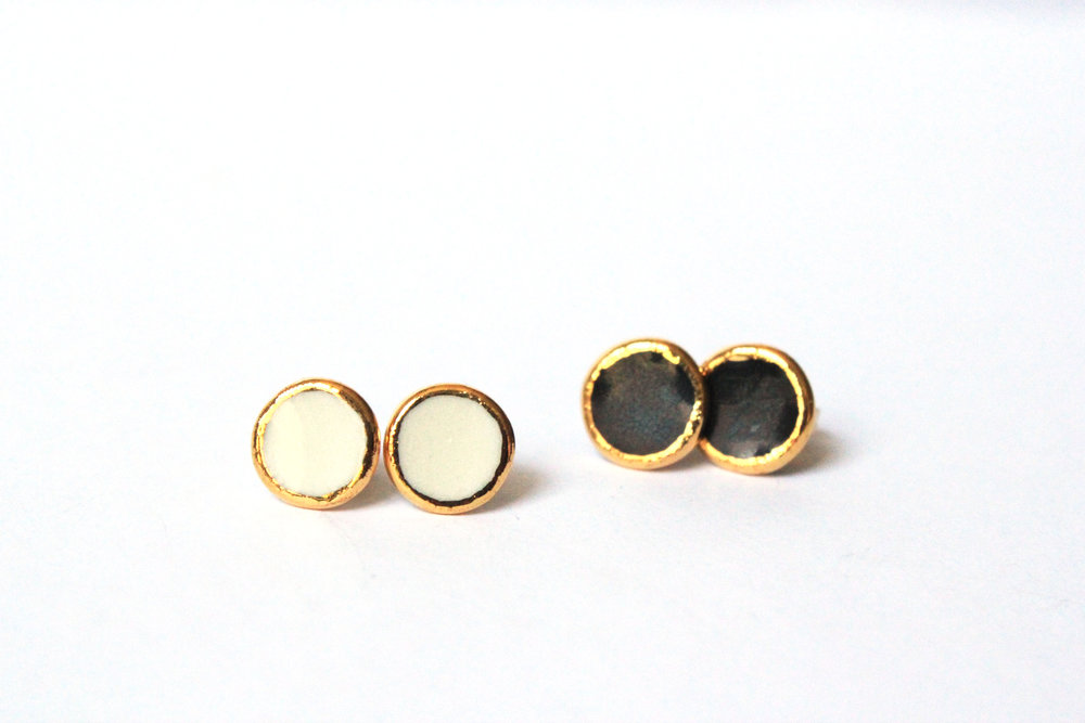 Gold Rimmed Circle Studs
