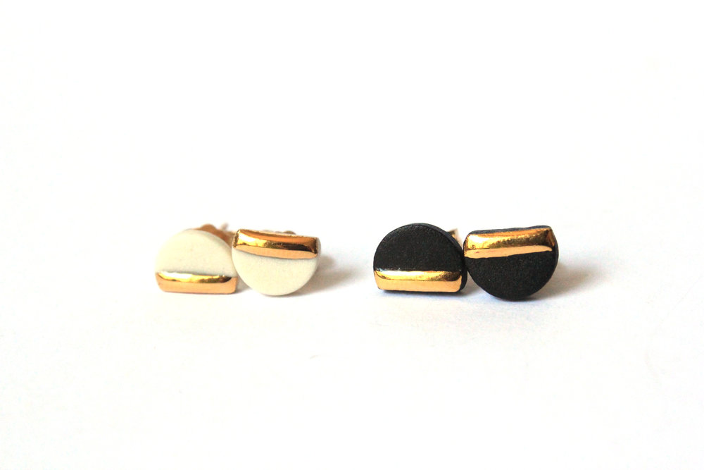 Gold Dipped Half Circle Studs