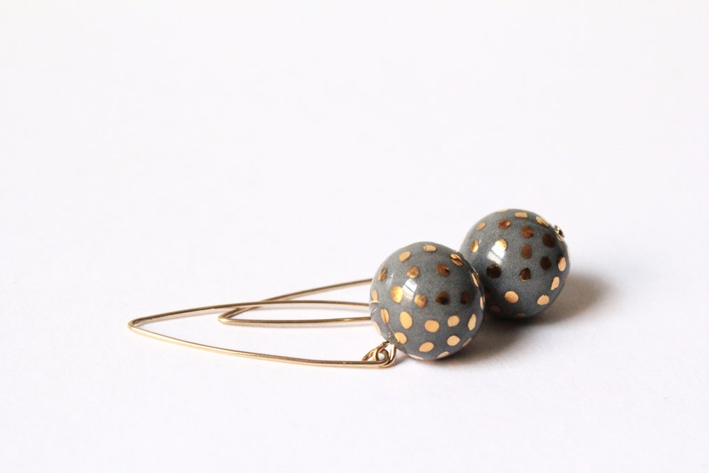 Ladybug Grey Earrings