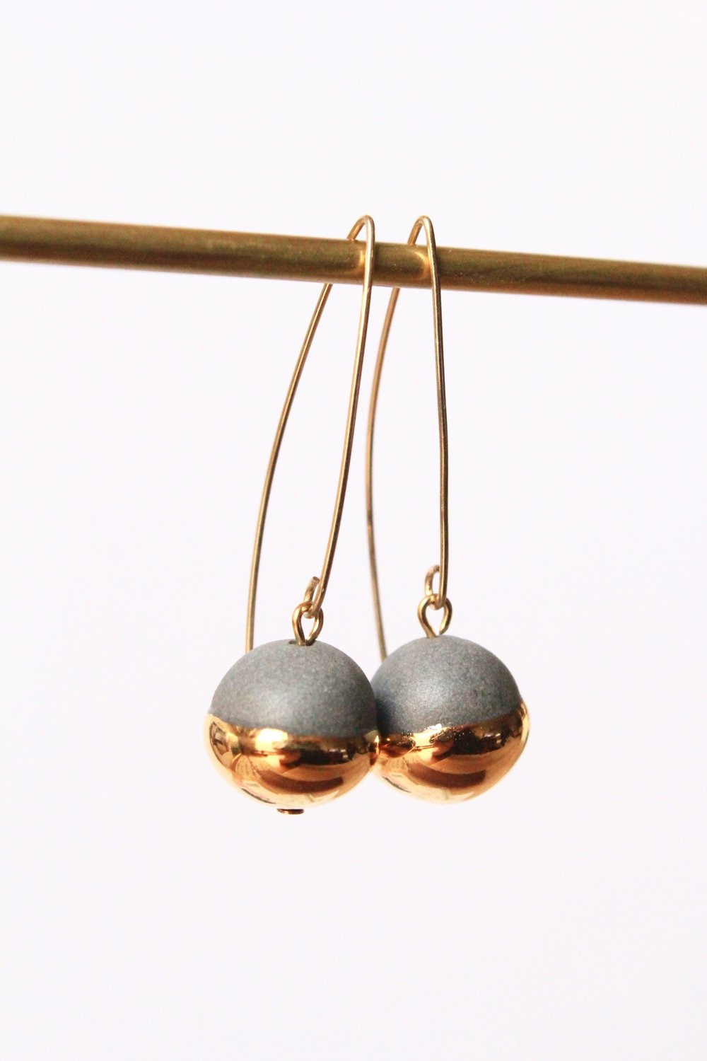 Gold Dipped Pearls Grey Earrings