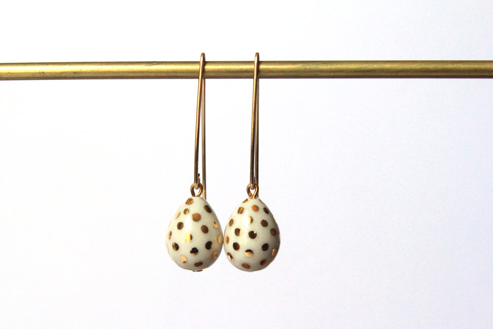 Ladybug Teardrop White Earrings