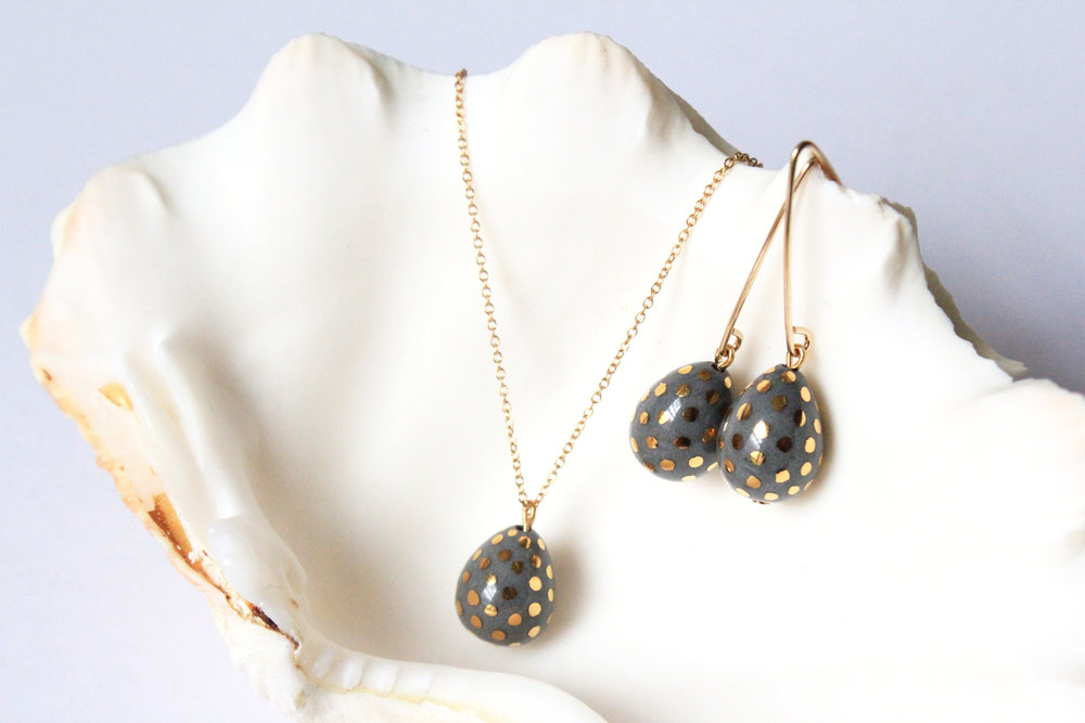 Ladybug Teardrop Collection in Grey
