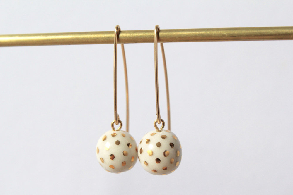 Ladybug White Earrings
