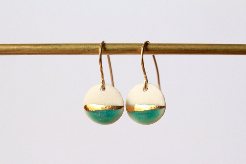 Gold Striped Turquoise Earrings