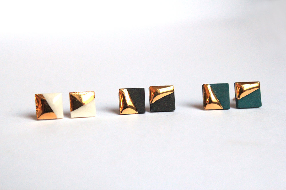 Gold Dipped Square Studs
