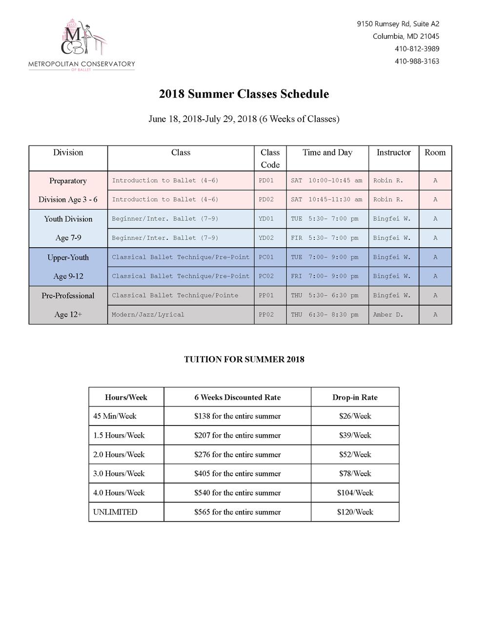 Bingfei Ballet Summer 2018 Schedule.png