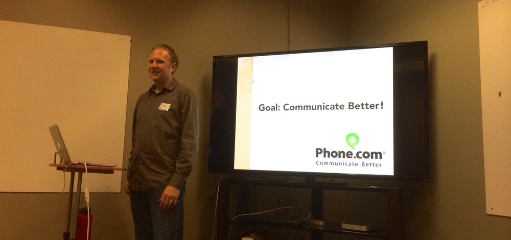 Jeremy Watkin providing an overview of Phone.com's awesome customer service philosophies.